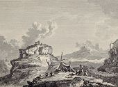View of Ceres rock, near Enna, Sicily. Created by Chatelet and Couch�?�©, published on Voyage Pittoresque de Naples et de Sicilie, by J. C. R. de Saint Non, Imprimerie de Clousier, Paris, 1786
