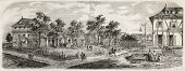 Antique illustration of Cayenne, main town in French Guiana. Original, from drawing of gaildrau after sketch of Baudin, was published on L'Illustration, Journal Universel, Paris, 1860