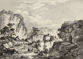 View of Enna surrounding mountains, Sicily. Created by Chatelet and Du Parc, published on Voyage Pit