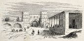 Antique illustration shows Gate and post office of Isfahan, Persia. Original, after drawing of Duhou