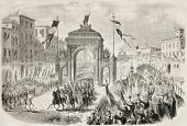 Antique illustration of  Victor Emmanuel II entering in Florence. Original, from drawing of Janet-La