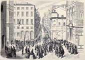 Old illustration of crowd attending political meeting in Bologna, Italy. Original, from drawing of W