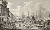 Old illustration of port of Messina. By Desprez, Duplessis-Berteaux and Desquauvilliers, published o