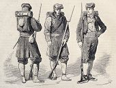 Old illustration of Catalan volunteers in Spanish army. Original, from drawing of  Ferat, after sketch of Rubio and Garve, was published on L'Illustration, Journal Universel, Paris, 1860