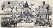 Old illustration of celebration in Milan, Italy, of Lombardy independence from Austria. From drawing of Gaildrau, after sketch of Ronchetti, published on L'Illustration, Journal Universel, Paris, 1860