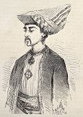 Antique illustration of a Parsi man in Aden. Original, from drawing of Rouargue, after sketch of Des