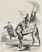 Old illustration of camel drummer of Persian Shah. Original, from drawing of Duhousset, was published on L'Illustration Journal Universel, Paris, 1860