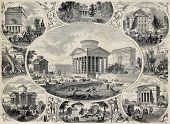 pic of passy  - Antique illustration of old Paris barriers - JPG