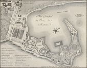 Port of Messina plan, Italy. Created by Beaubl�©, published on Voyage Pittoresque de Naples et de Sicilie,  J. C. R. de Saint Non, Impr. de Clousier, Paris, 1786