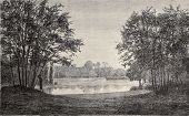 Saint James pond at Bois de Boulogne, Paris. By Hildibrand, Hochereau and Lambotte, from Les Promena