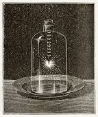 Antique illustration of iron combustion in pure oxygen. Original, from unknown author, was published on L'Eau, by G. Tissandier, Hachette, Paris, 1873.
