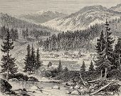 Old view of Cisco workers village, along Union Pacific Railroad, Nevada. Original, by unknown author, was published on L'Illustration, Journal Universel, Paris, 1868