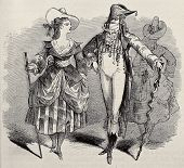 Old illustration of masquerade couple costumes for Grand Masquerade Ball of 1868 season. Original, c