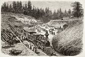 Old illustration of Dixie trench, California, along Union Pacific Railroad track. Original, created