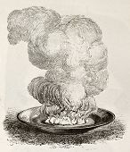 Old illustration of quicklime reacting with water. Original, from unknown author, was published on L
