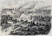 Old illustration of battlefield in Paraguay, during the war of the Triple Alliance. By Janet-Lange a