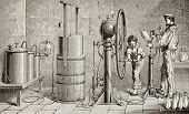 Antique illustration of a Ozouf apparatus for fizzy water production. Original, created by Javandier and Hildibrand, was published on L'Eau, by G. Tissandier, Hachette, Paris, 1873