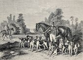 Antique illustration of hunting dog pack .From drawing of Duvaux, engraved by Cosson.Smeeton, publis
