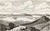 Old view of Great Salt Lake, Utah. Original, from unknown author, was published on L'Eau, by G. Tissandier, Hachette, Paris, 1873