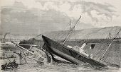 Antique illustration of two crafts accidental sinking in Boulogne port's channel. Created by Blancha