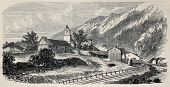 Mont Cenis railway station at Lanslebourg (railway opened in 1868 and dismantled in 1871). Created by De Bar and Cosson-Smeeton, publ. on L'Illustration, Journal Universel, Paris, 1868