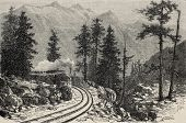 Old illustration of Mont Cenis railroad scenery (railway opened in 1868 and dismantled in 1871). Cre