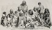 Antique illustration of poor and needy people in Algeria. Created by Janet-Lange and Cosson-Smeeton after photo of Sarrault, published on L'Illustration, Journal Universel, Paris, 1868