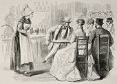 Antique illustration of a waitress attending to customers in a bar. Created by Pauquet and Dutheil,