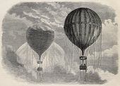 Old illustration of a strange optical phenomena during aerostat ascension in Paris, 15 april 1868. C