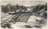Old illustration of a trestle viaduct along Union Pacific Railroad, USA. Created by Lancelot and Cos
