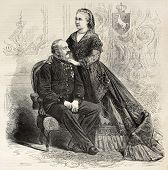 Antique portrait of Royal couple of Hanover: King George V and Queen consort Marie. Created by Pauqu