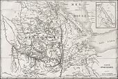 Old map of Abyssinia with Red Sea region map insert.  Created by Kautx and Gillot, published on L'Il