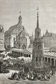 Old illustration of Haupmarkt square in Nuremberg, with the Beautiful Fountain (Schoner Brunnen) and Church of Our Lady (Frauenkirche). Created by Therond, published on Le Tour du Monde, Paris, 1864