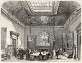 Old illustration of conference hall in the French Parliament, Paris. Created by Fichot and Cosson-Smeeton, published on L'Illustration, Journal Universel, Paris, 1868