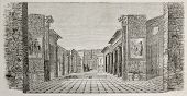 Old illustration of peristyle in the House of castor and Pollux, Pompeii, Italy. Created by Lancelot