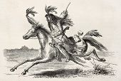 Old illustration of a Sioux native American scout riding. Created by Lancelot, published on Le Tour
