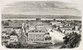 Old view of Omaha, Nebraska, USA. Created by Lancelot and Cosson-Smeeton, published on L'Illustration, Journal Universel, Paris, 1868