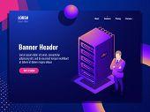 Server Room, Cloud Storage, Virtual Servers, Vpn, System Administrator, Big Data Processing, Isometr poster