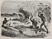 Old illustration of blacksmith workers in a tribe of Unyamwezi region, Tanzania. Created by Bayard,