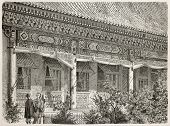 British legation peristyle, Beijing. Created by Therond, published on Le Tour du Monde, Paris, 1864.