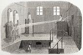 alte Abbildung der Hydrotherapie in Sainte Anne Asyl. erstellt von Gaildrau, veröffentlicht auf l'illustra