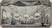 Antique illustration of Sultan's dining room in Dolmabahce Palace, Istabul. Original, from drawing o