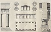Geometric plan of Temple of Segesta, western Sicily. By Renard and Berthault, published on Voyage Pi