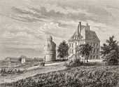 Antique illustration of Chateau La Tour Bordeaux, France. Created by Lallemand and Cosson-Smeeton, a