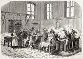 Antique illustration of the Laundry of Saint Anne psychiatric hospital. Original, creatd by Gaildrau