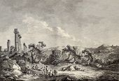 Old view of Valley of the Temples, Sicily. Created by Chatelet and Allix, published on Voyage Pittor