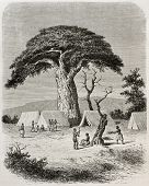 Old illustration of Ougogo encampment during Captain Speke expedition towards Nile river source, Tan