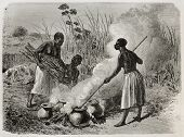 Old illustration of beer making in Unyamwezi region, Tanzania. Created by Bayard, published on Le Tour du Monde, Paris, 1864