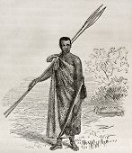 Old illustration of Ugandan dignitary. Created by Grant, published on Le Tour du Monde, Paris, 1864