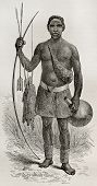 Old illustration of native of the Ouzinza region, Uganda. Created by Bayrad, published on Le Tour du
